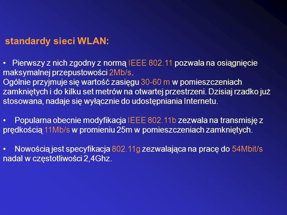 standardy sieci WLAN: Pierwszy z nich zgodny z normą IEEE 802.11 pozwala na osiągnięcie maksymalnej przepustowości 2Mb/s. Ogólnie przyjmuje się wartoś