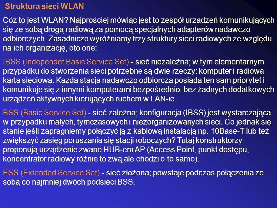 Struktura sieci WLAN Cóż to jest WLAN? Najprościej mówiąc jest to zespół urządzeń komunikujących się ze sobą drogą radiową za pomocą specjalnych adapt