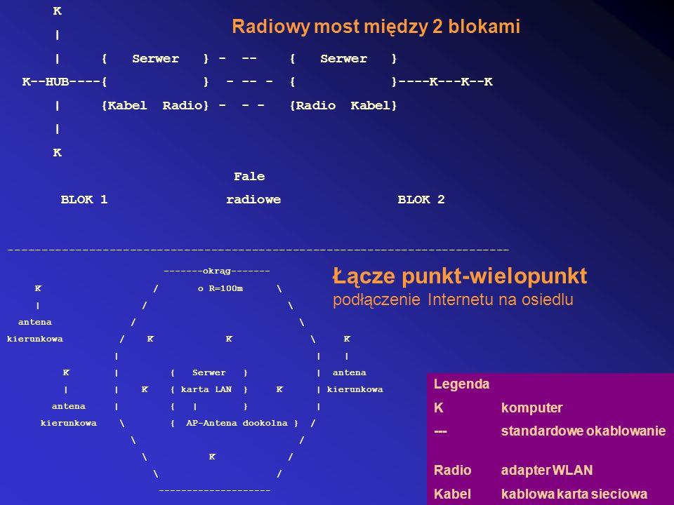 K | | { Serwer } - -- { Serwer } K--HUB----{ } - -- - { }----K---K--K | {Kabel Radio} - - - {Radio Kabel} | K Fale BLOK 1 radiowe BLOK 2 Radiowy most