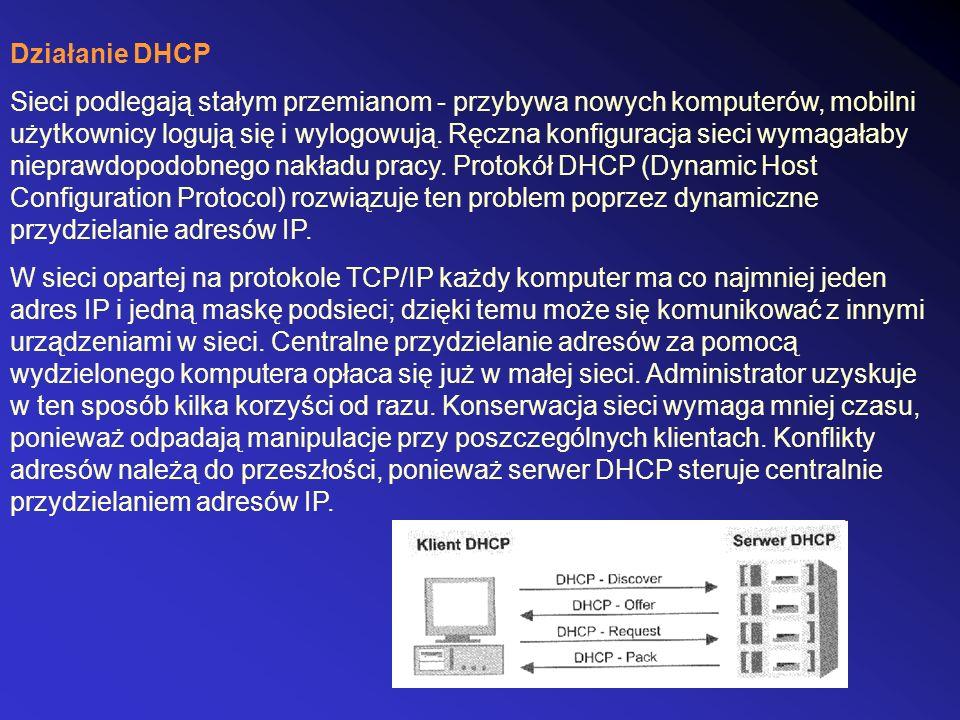 Działanie DHCP Sieci podlegają stałym przemianom - przybywa nowych komputerów, mobilni użytkownicy logują się i wylogowują. Ręczna konfiguracja sieci