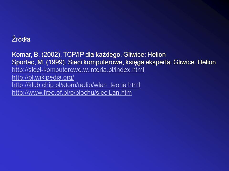 Źródła Komar, B. (2002). TCP/IP dla każdego. Gliwice: Helion Sportac, M. (1999). Sieci komputerowe, księga eksperta. Gliwice: Helion http://sieci-komp