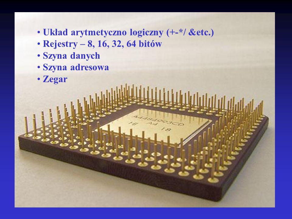 Układ arytmetyczno logiczny (+-*/ &etc.) Rejestry – 8, 16, 32, 64 bitów Szyna danych Szyna adresowa Zegar