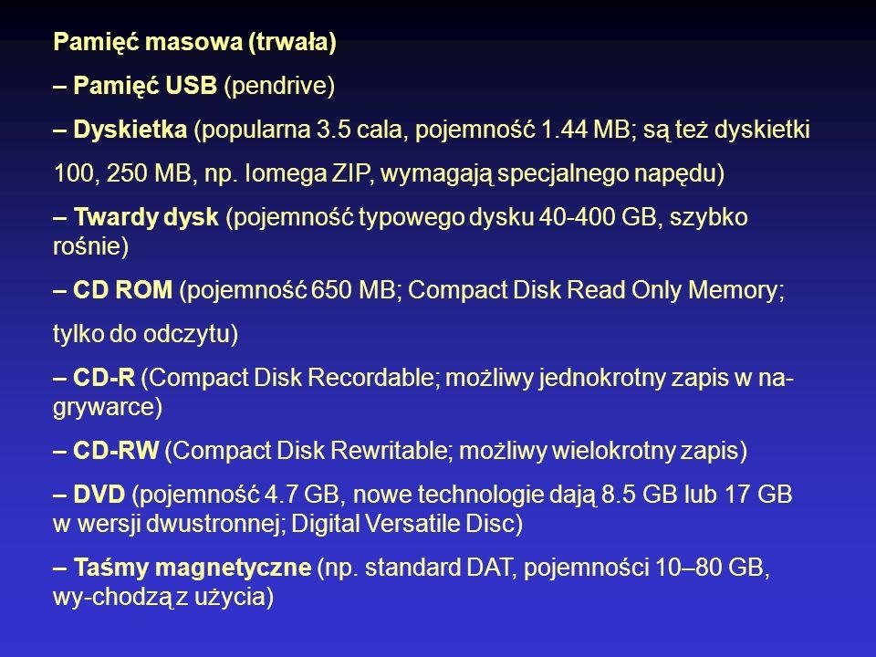 Pamięć masowa (trwała) – Pamięć USB (pendrive) – Dyskietka (popularna 3.5 cala, pojemność 1.44 MB; są też dyskietki 100, 250 MB, np. Iomega ZIP, wymag