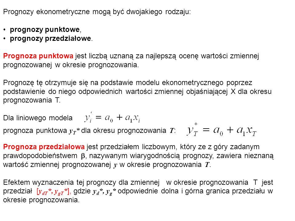 Prognozy ekonometryczne mogą być dwojakiego rodzaju: prognozy punktowe, prognozy przedziałowe. Prognoza punktowa jest liczbą uznaną za najlepszą ocenę