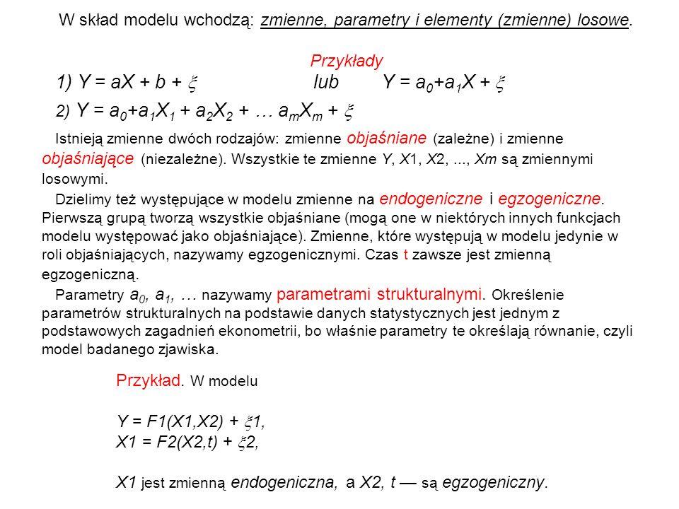W skład modelu wchodzą: zmienne, parametry i elementy (zmienne) losowe. Przykłady 1) Y = aX + b + lub Y = a 0 +a 1 X + 2) Y = a 0 +a 1 X 1 + a 2 X 2 +
