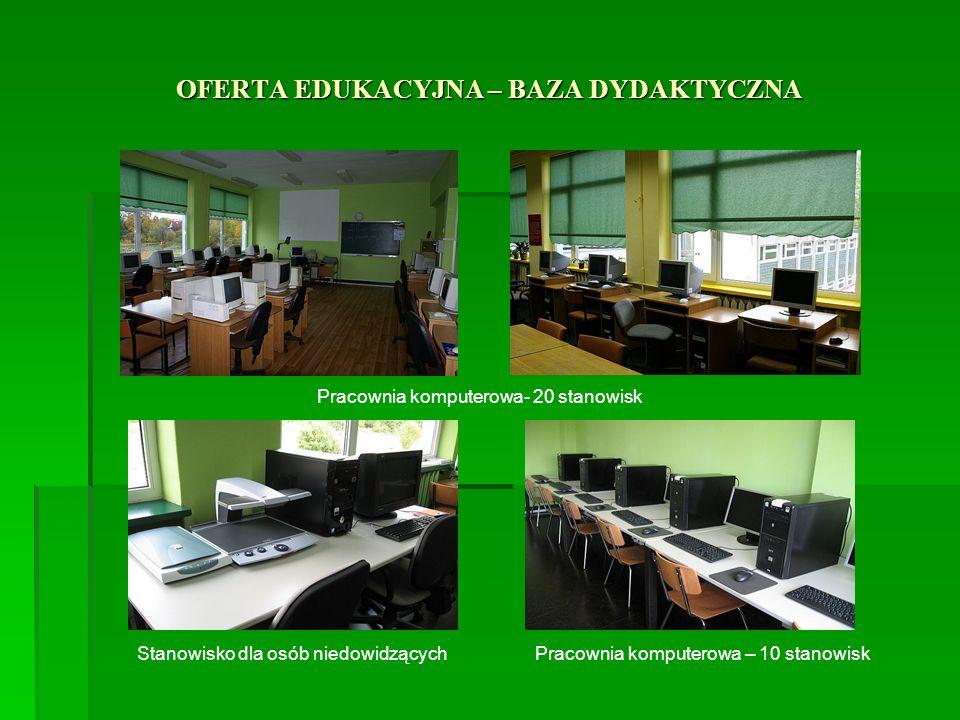 OFERTA EDUKACYJNA – BAZA DYDAKTYCZNA Pracownia komputerowa- 20 stanowisk Pracownia komputerowa – 10 stanowiskStanowisko dla osób niedowidzących