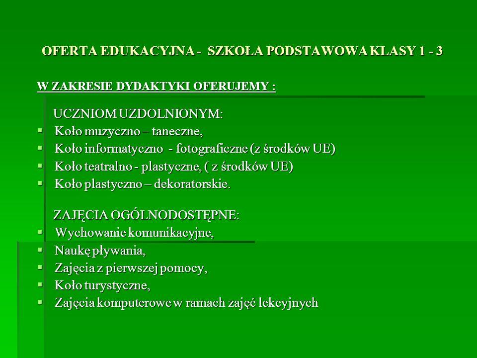 OFERTA EDUKACYJNA - SZKOŁA PODSTAWOWA Dokumentacja fotograficzna Świetlica głośna Internetowe Centrum Informacji Multimedialnej