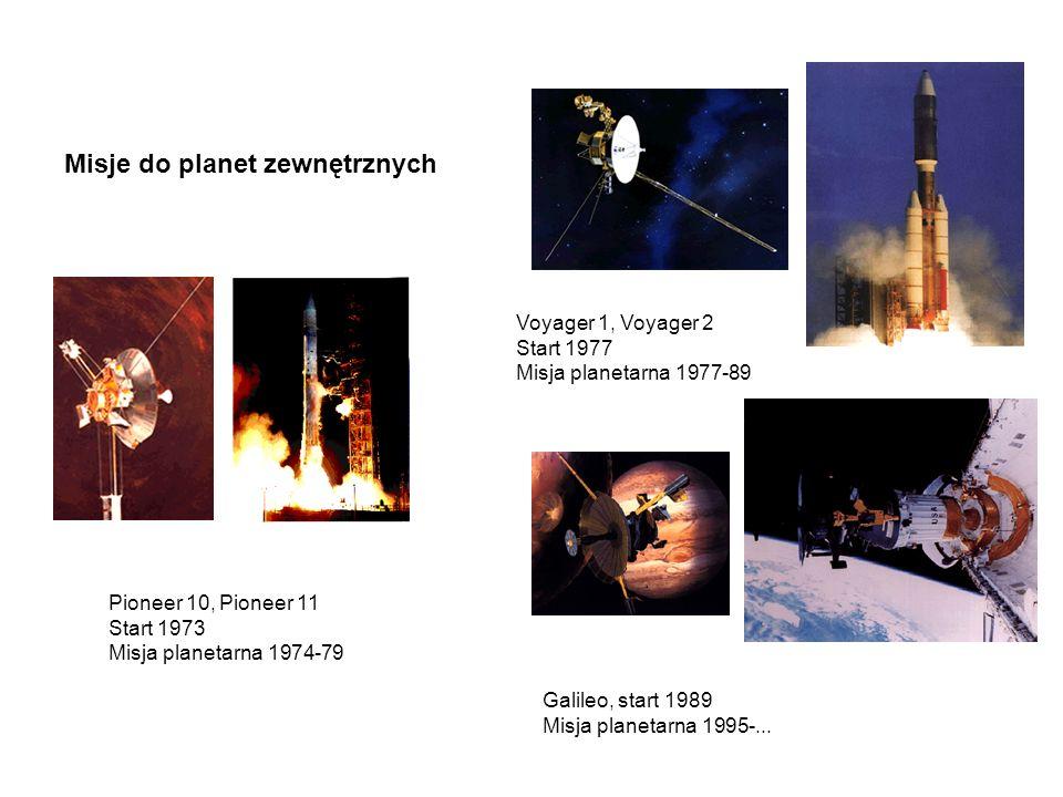 Misje do planet zewnętrznych Pioneer 10, Pioneer 11 Start 1973 Misja planetarna 1974-79 Voyager 1, Voyager 2 Start 1977 Misja planetarna 1977-89 Galil