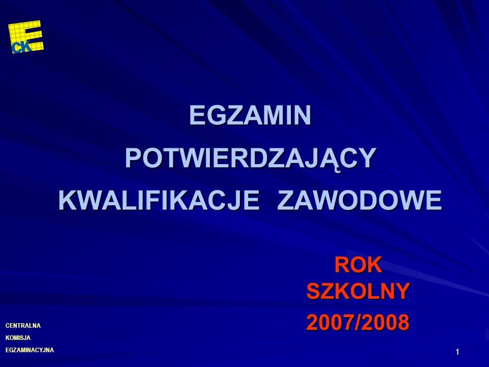 EGZAMINACYJNA CENTRALNA KOMISJA 1 EGZAMIN POTWIERDZAJĄCY KWALIFIKACJE ZAWODOWE ROK SZKOLNY 2007/2008