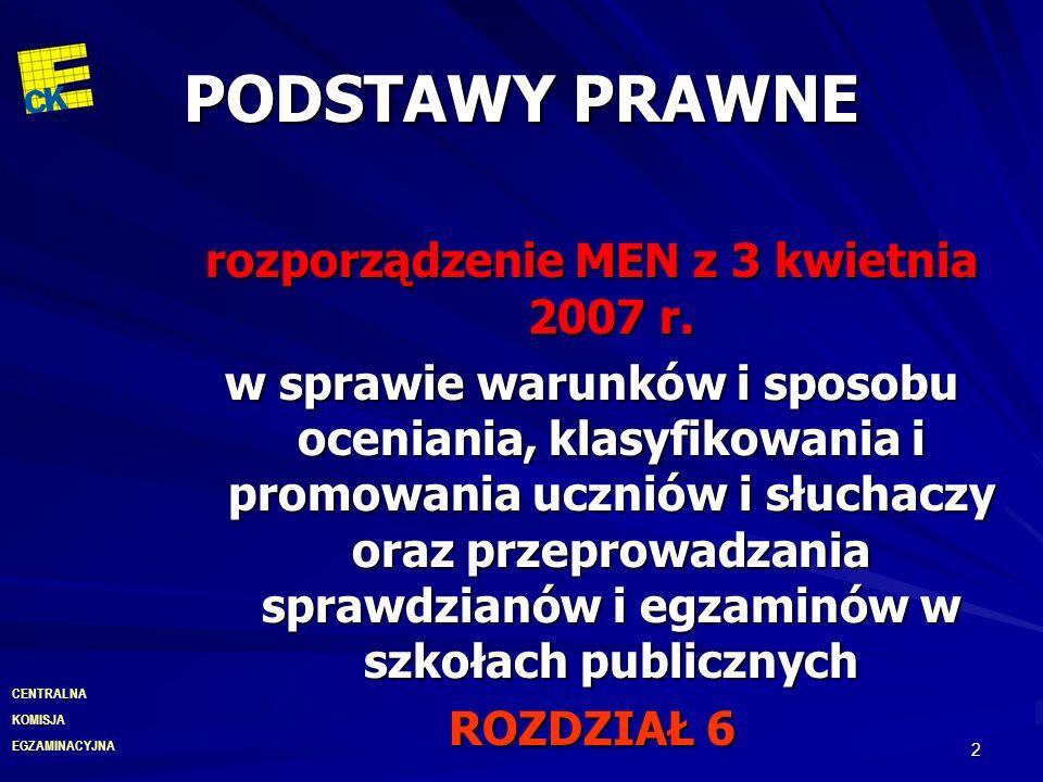 EGZAMINACYJNA CENTRALNA KOMISJA 2 PODSTAWY PRAWNE rozporządzenie MEN z 3 kwietnia 2007 r. w sprawie warunków i sposobu oceniania, klasyfikowania i pro