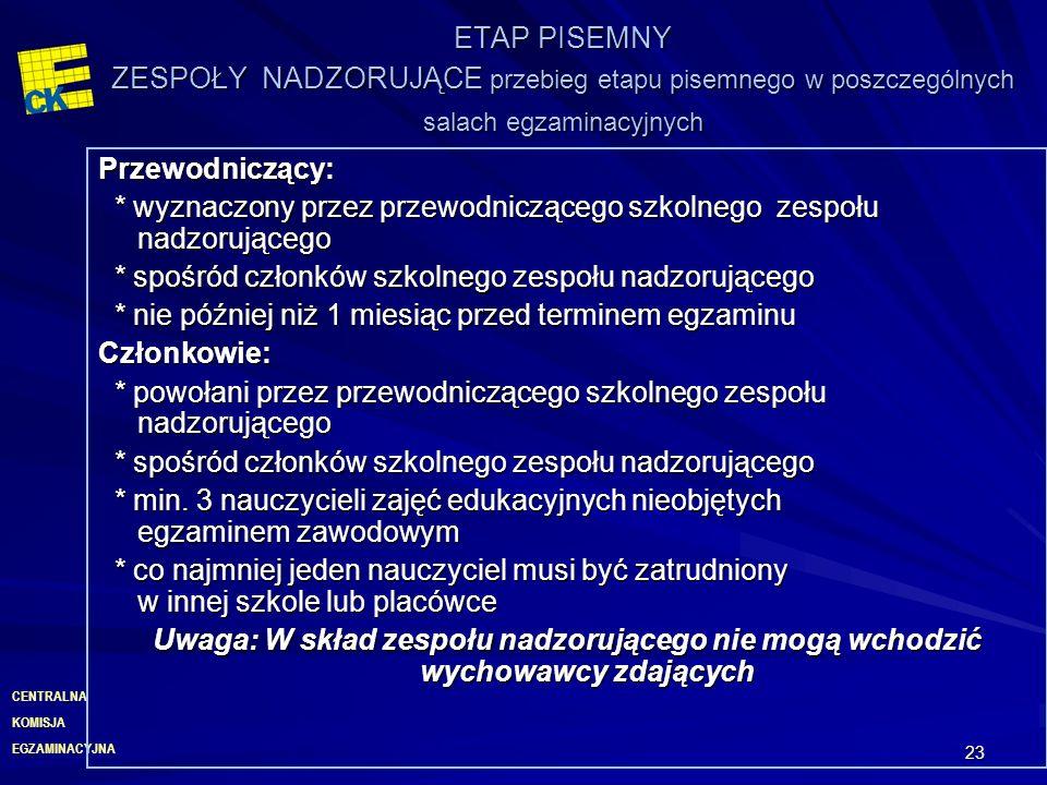 EGZAMINACYJNA CENTRALNA KOMISJA 23 ETAP PISEMNY ZESPOŁY NADZORUJĄCE przebieg etapu pisemnego w poszczególnych salach egzaminacyjnych Przewodniczący: *