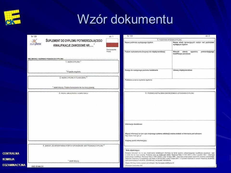 EGZAMINACYJNA CENTRALNA KOMISJA 31 Wzór dokumentu