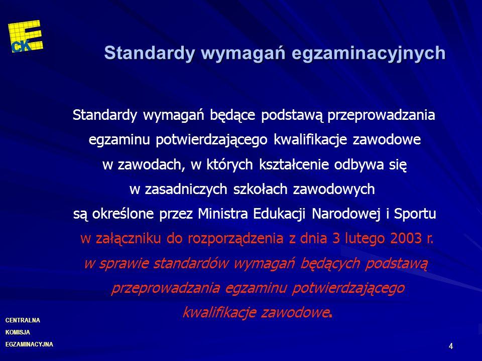 EGZAMINACYJNA CENTRALNA KOMISJA 5 Standardy wymagań egzaminacyjnych Standardy wymagań będące podstawą przeprowadzania egzaminu potwierdzającego kwalifikacje zawodowe w zawodach, w których kształcenie odbywa się w technikach i szkołach policealnych, są określone przez Ministra Edukacji Narodowej i Sportu w załączniku do rozporządzenia z dnia 29 marca 2005 r.