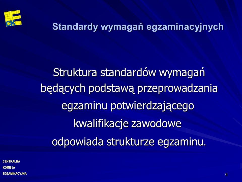 EGZAMINACYJNA CENTRALNA KOMISJA 7 Struktura egzaminu potwierdzającego kwalifikacje zawodowe Część II – zakres wiadomości i umiejętności związanych z zatrudnieniem i działalnością gospodarczą Zdający rozwiązuje test zawierający 20 zadań zamkniętych ETAP PISEMNY Czas trwania 120 minut Etap praktyczny – obejmuje wykonanie zadania egzaminacyjnego, sprawdzającego praktyczne umiejętności z zakresu kwalifikacji w danym zawodzie.