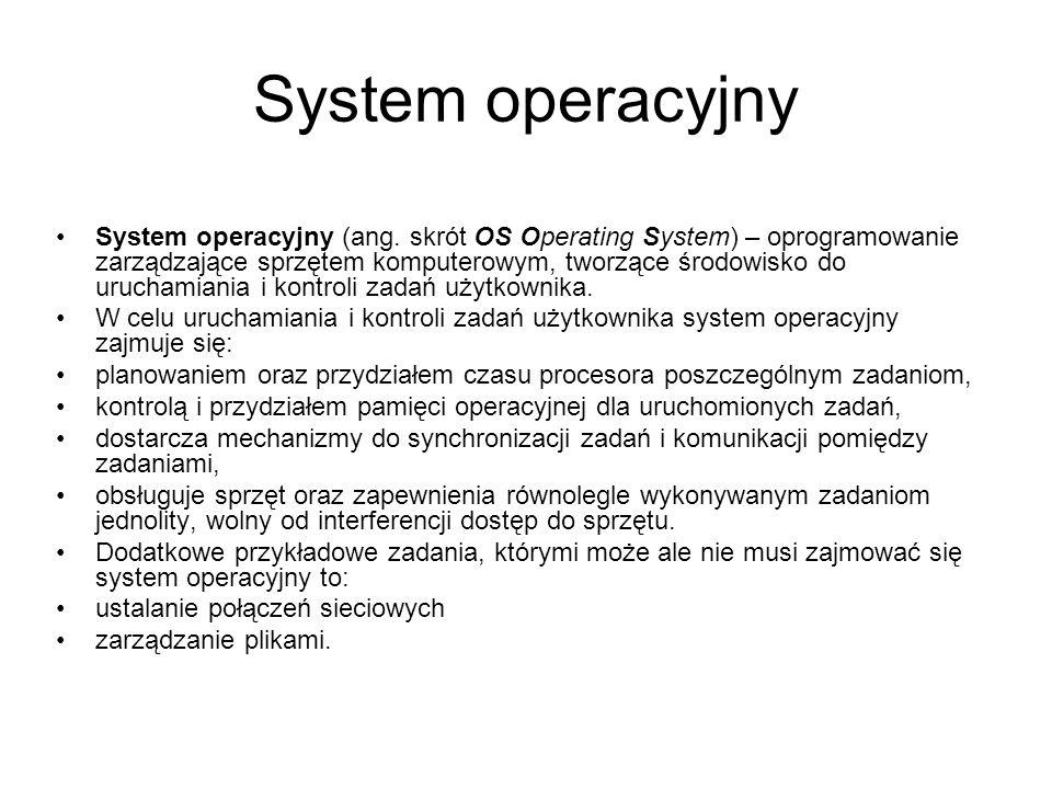 System operacyjny System operacyjny (ang. skrót OS Operating System) – oprogramowanie zarządzające sprzętem komputerowym, tworzące środowisko do uruch