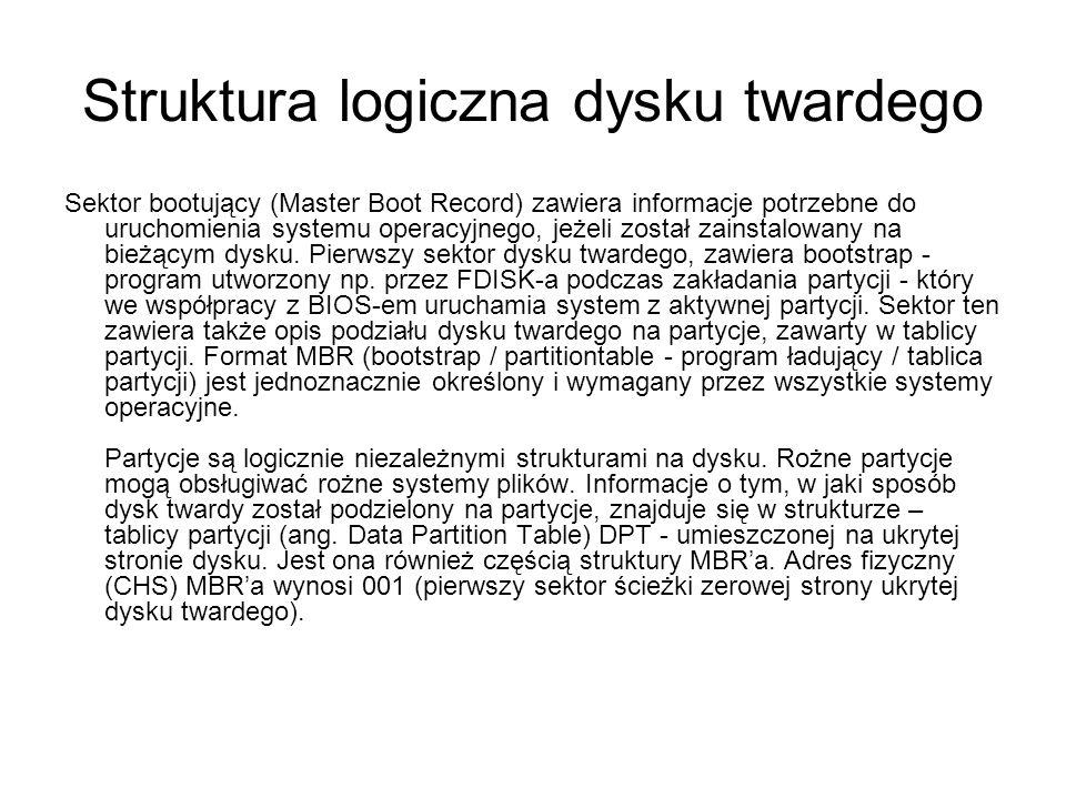 Struktura logiczna dysku twardego Sektor bootujący (Master Boot Record) zawiera informacje potrzebne do uruchomienia systemu operacyjnego, jeżeli zost