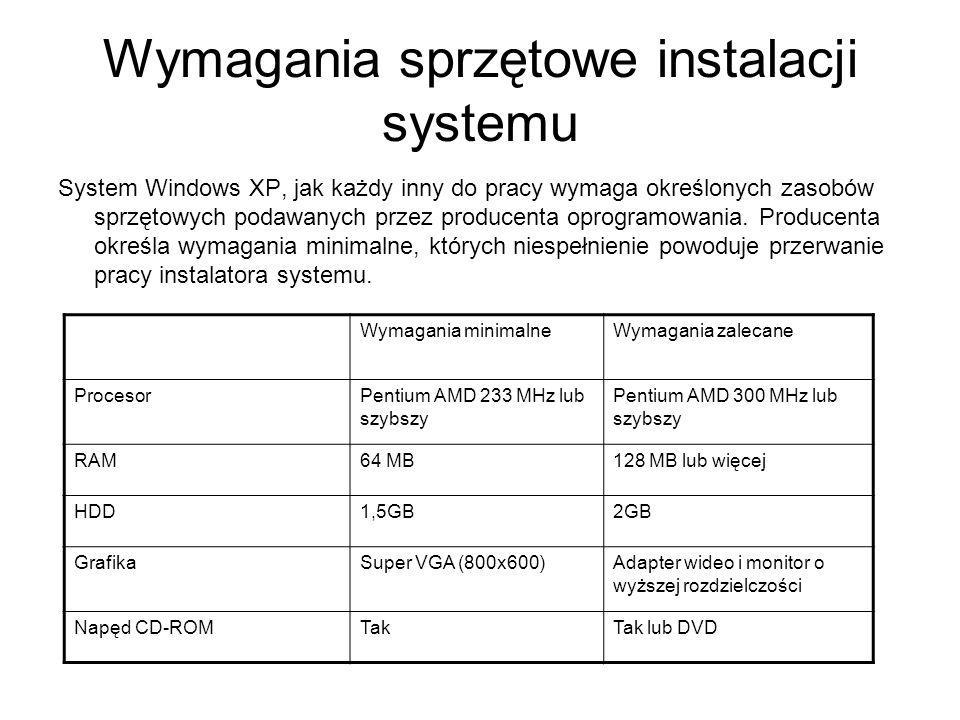 Wymagania sprzętowe instalacji systemu System Windows XP, jak każdy inny do pracy wymaga określonych zasobów sprzętowych podawanych przez producenta o