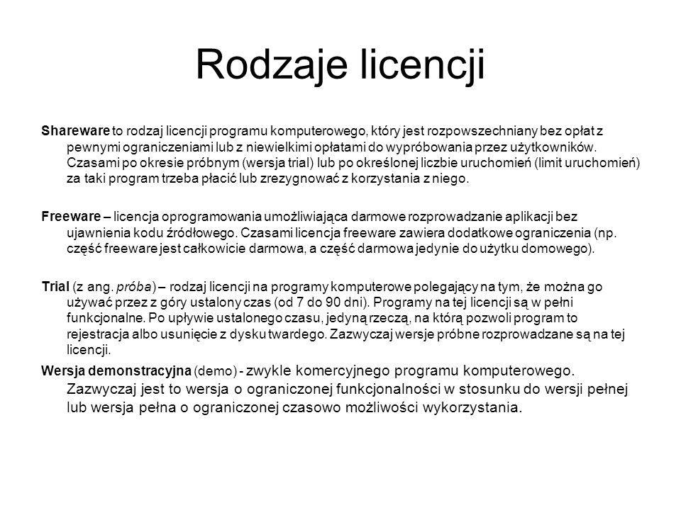 Rodzaje licencji Shareware to rodzaj licencji programu komputerowego, który jest rozpowszechniany bez opłat z pewnymi ograniczeniami lub z niewielkimi