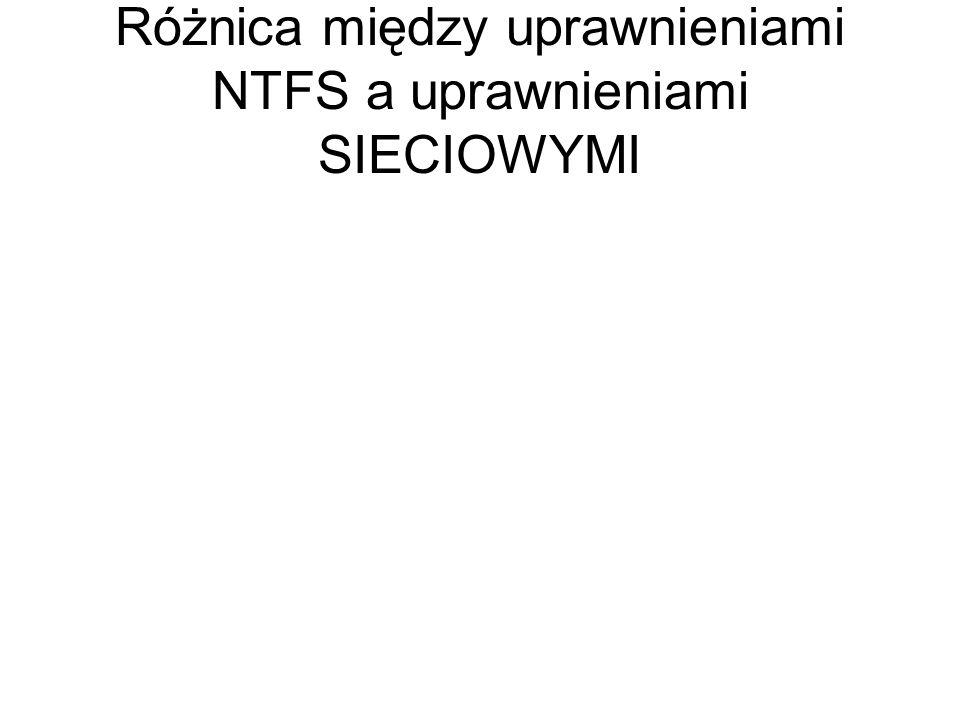 Różnica między uprawnieniami NTFS a uprawnieniami SIECIOWYMI