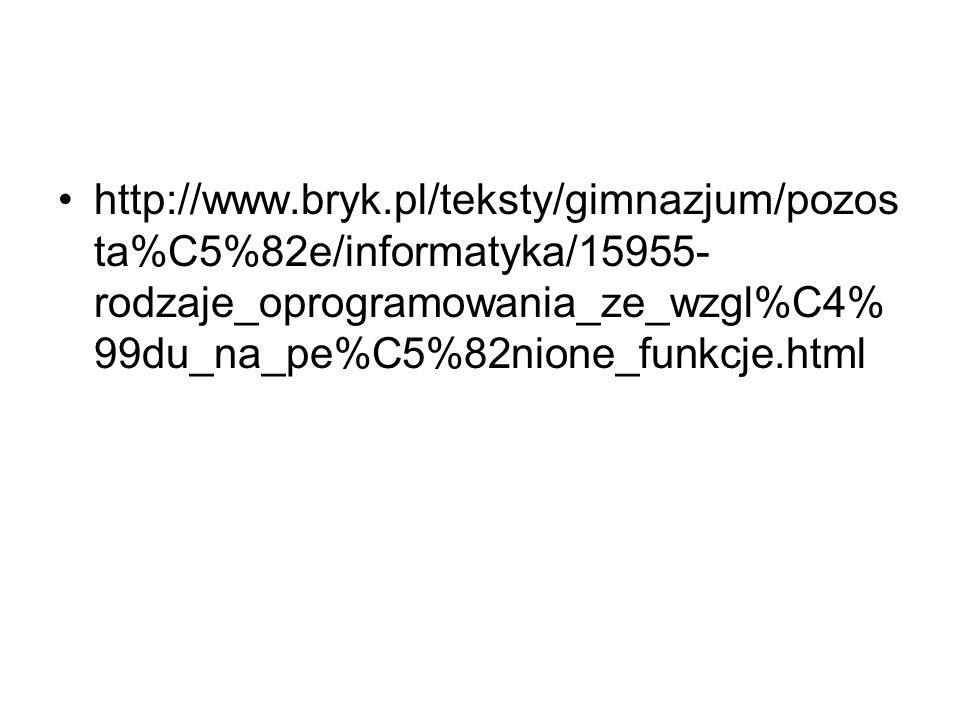 http://www.bryk.pl/teksty/gimnazjum/pozos ta%C5%82e/informatyka/15955- rodzaje_oprogramowania_ze_wzgl%C4% 99du_na_pe%C5%82nione_funkcje.html