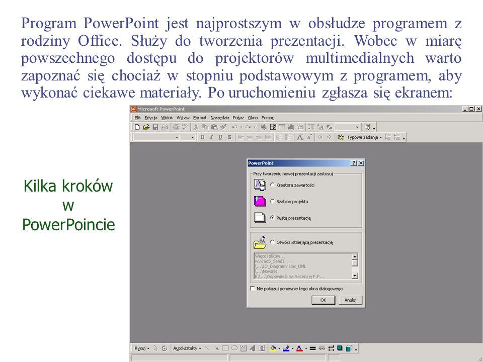 Program PowerPoint jest najprostszym w obsłudze programem z rodziny Office. Służy do tworzenia prezentacji. Wobec w miarę powszechnego dostępu do proj
