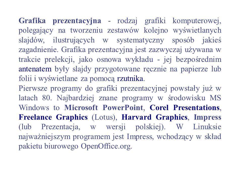 Grafika prezentacyjna - rodzaj grafiki komputerowej, polegający na tworzeniu zestawów kolejno wyświetlanych slajdów, ilustrujących w systematyczny spo