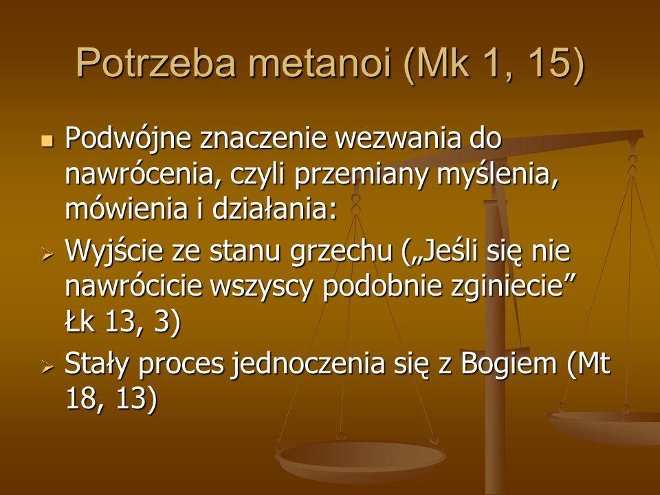 Potrzeba metanoi (Mk 1, 15) Podwójne znaczenie wezwania do nawrócenia, czyli przemiany myślenia, mówienia i działania: Podwójne znaczenie wezwania do