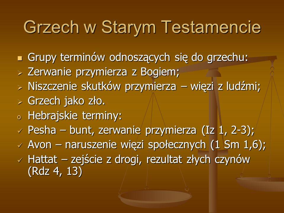 Grzech w Starym Testamencie Grupy terminów odnoszących się do grzechu: Grupy terminów odnoszących się do grzechu: Zerwanie przymierza z Bogiem; Zerwan