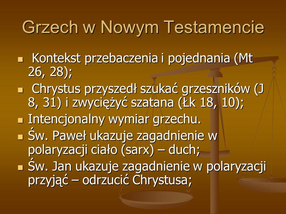 Grzech w Nowym Testamencie Kontekst przebaczenia i pojednania (Mt 26, 28); Kontekst przebaczenia i pojednania (Mt 26, 28); Chrystus przyszedł szukać g