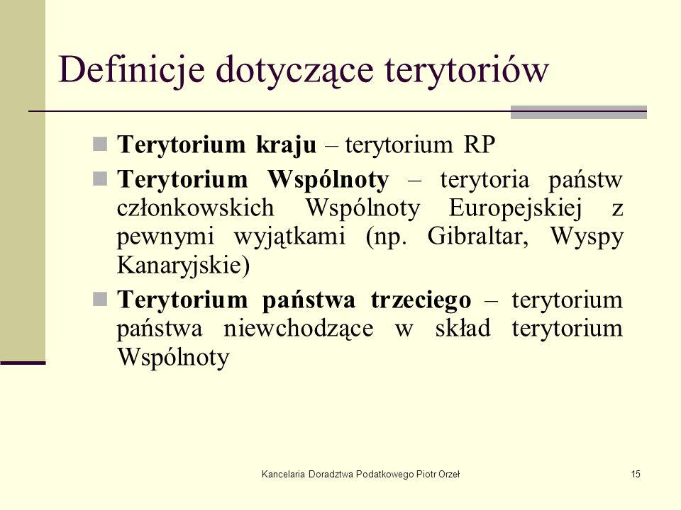 Kancelaria Doradztwa Podatkowego Piotr Orzeł15 Definicje dotyczące terytoriów Terytorium kraju – terytorium RP Terytorium Wspólnoty – terytoria państw