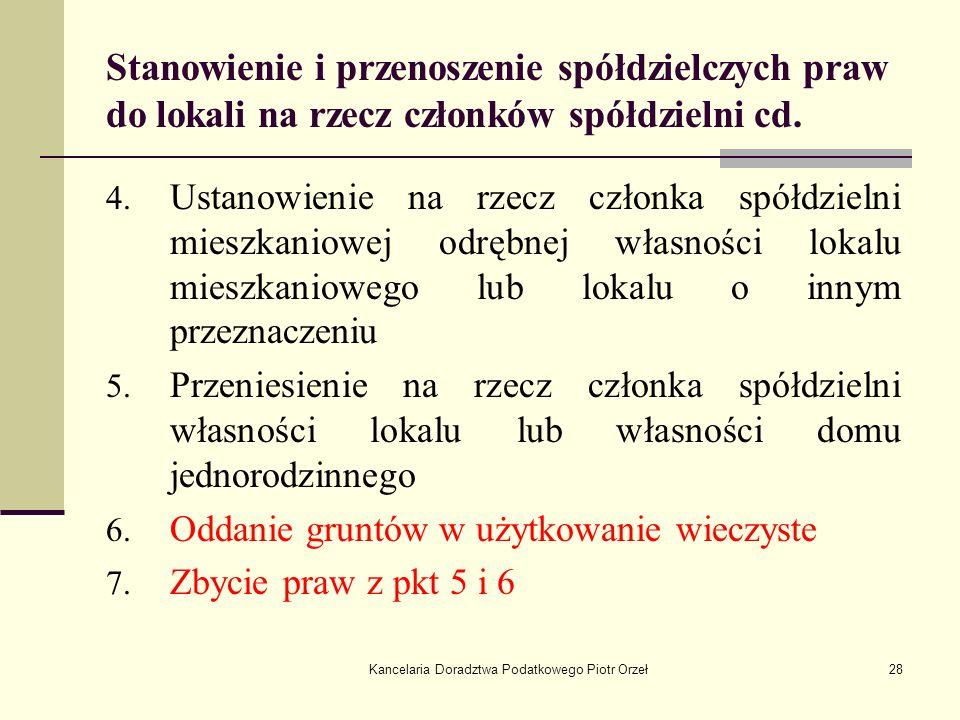 Kancelaria Doradztwa Podatkowego Piotr Orzeł28 Stanowienie i przenoszenie spółdzielczych praw do lokali na rzecz członków spółdzielni cd. 4. Ustanowie