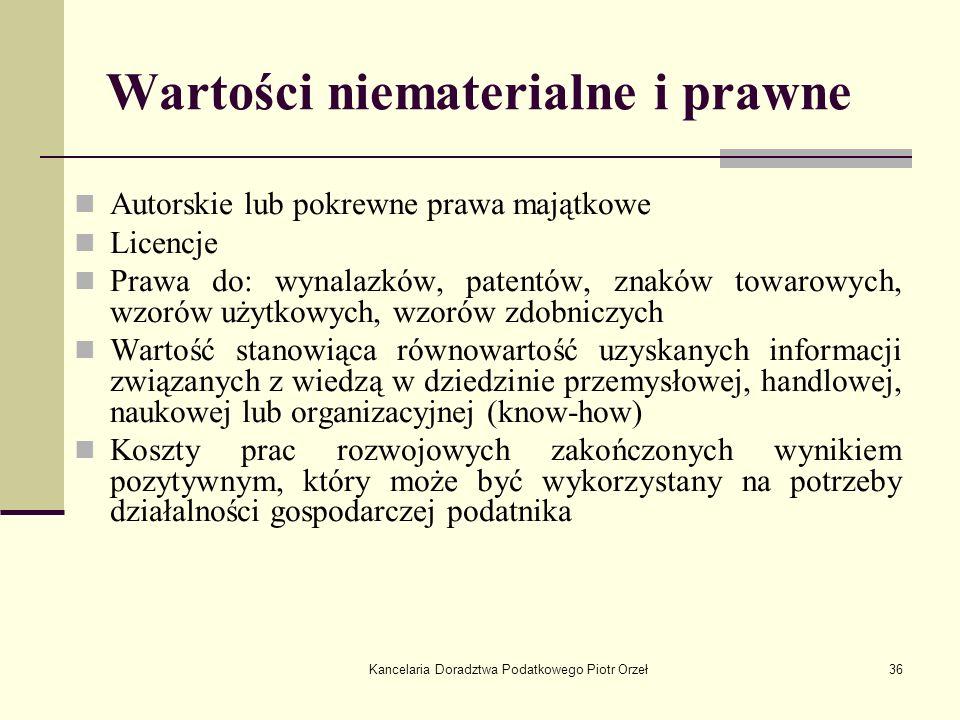 Kancelaria Doradztwa Podatkowego Piotr Orzeł36 Wartości niematerialne i prawne Autorskie lub pokrewne prawa majątkowe Licencje Prawa do: wynalazków, p