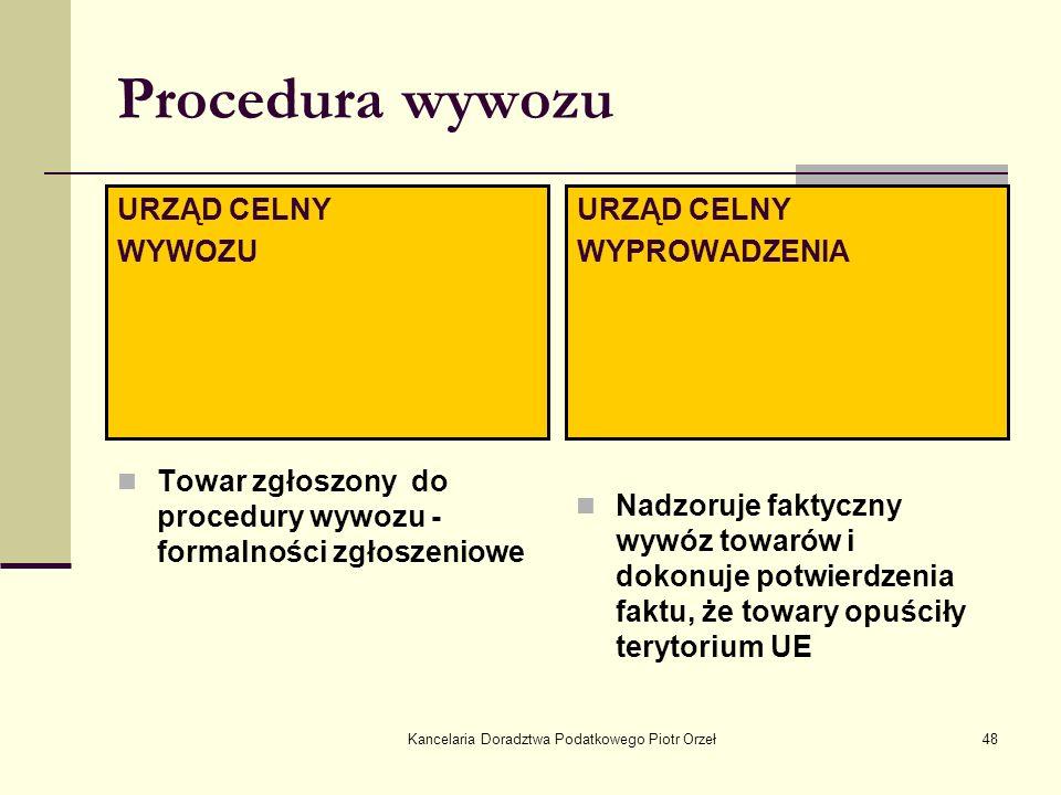 Kancelaria Doradztwa Podatkowego Piotr Orzeł48 Procedura wywozu Towar zgłoszony do procedury wywozu - formalności zgłoszeniowe Nadzoruje faktyczny wyw