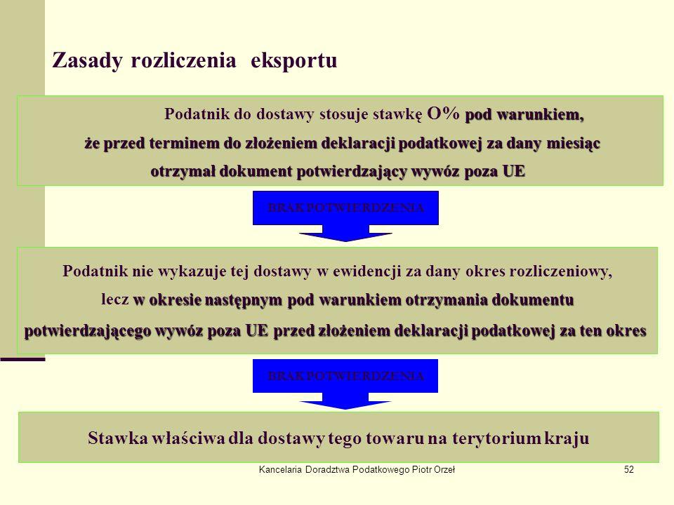Kancelaria Doradztwa Podatkowego Piotr Orzeł52 Zasady rozliczenia eksportu pod warunkiem, Podatnik do dostawy stosuje stawkę O% pod warunkiem, że prze
