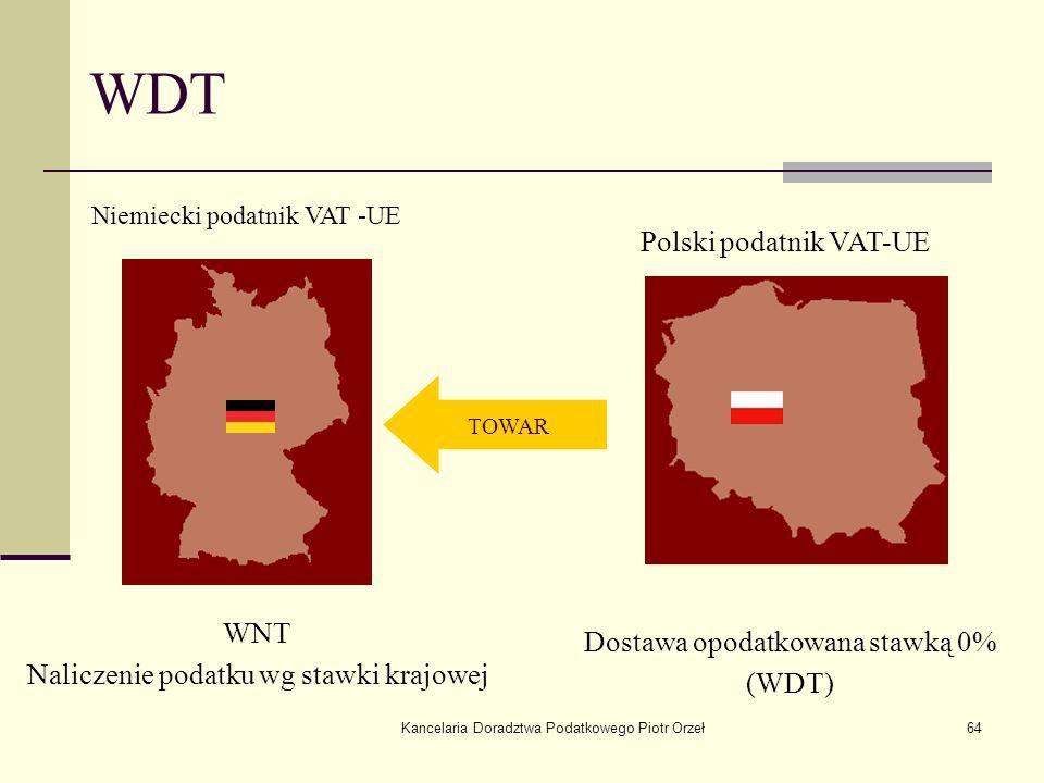 Kancelaria Doradztwa Podatkowego Piotr Orzeł64 WDT TOWAR Niemiecki podatnik VAT -UE Polski podatnik VAT-UE Dostawa opodatkowana stawką 0% (WDT) WNT Na