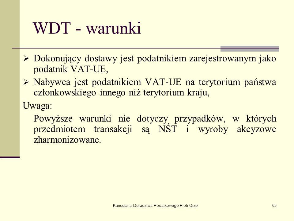 Kancelaria Doradztwa Podatkowego Piotr Orzeł65 WDT - warunki Dokonujący dostawy jest podatnikiem zarejestrowanym jako podatnik VAT-UE, Nabywca jest po