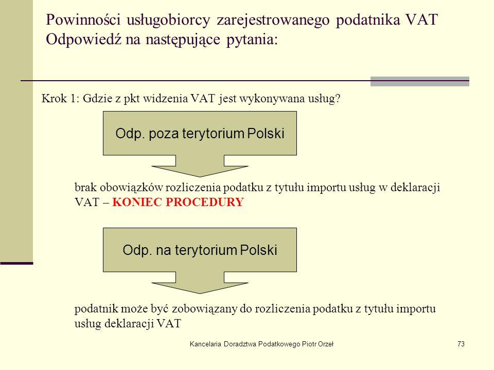 Kancelaria Doradztwa Podatkowego Piotr Orzeł73 Powinności usługobiorcy zarejestrowanego podatnika VAT Odpowiedź na następujące pytania: Krok 1: Gdzie