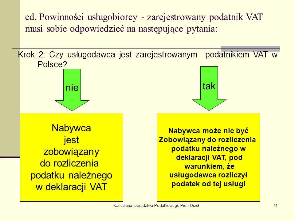 Kancelaria Doradztwa Podatkowego Piotr Orzeł74 cd. Powinności usługobiorcy - zarejestrowany podatnik VAT musi sobie odpowiedzieć na następujące pytani