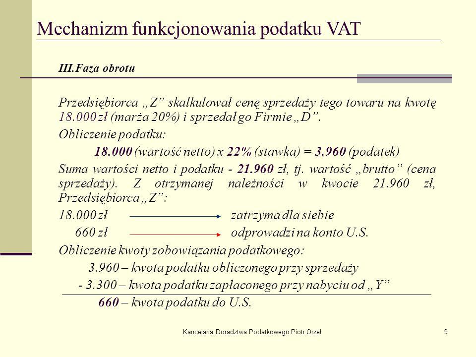 Kancelaria Doradztwa Podatkowego Piotr Orzeł10 Mechanizm funkcjonowania podatku VAT IV.Faza obrotu Przedsiębiorca D (detalista) skalkulował cenę sprzedaży tego towaru na kwotę 23.400 zł (marża 30%) i sprzedał ostatecznemu konsumentowi.