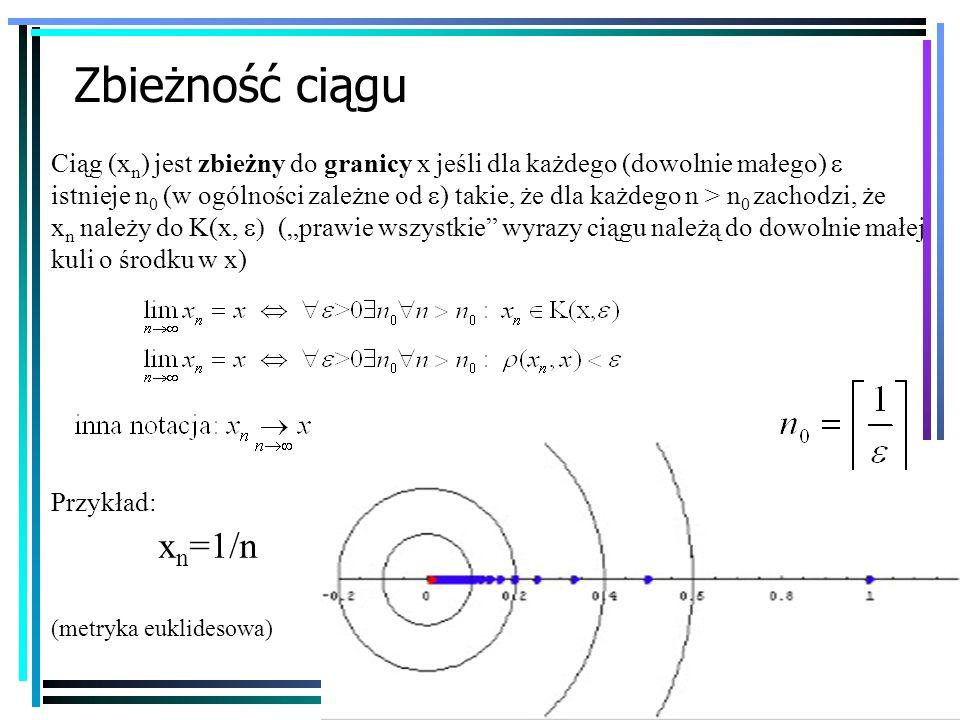 10 Zbieżność ciągu Ciąg (x n ) jest zbieżny do granicy x jeśli dla każdego (dowolnie małego) istnieje n 0 (w ogólności zależne od ) takie, że dla każd