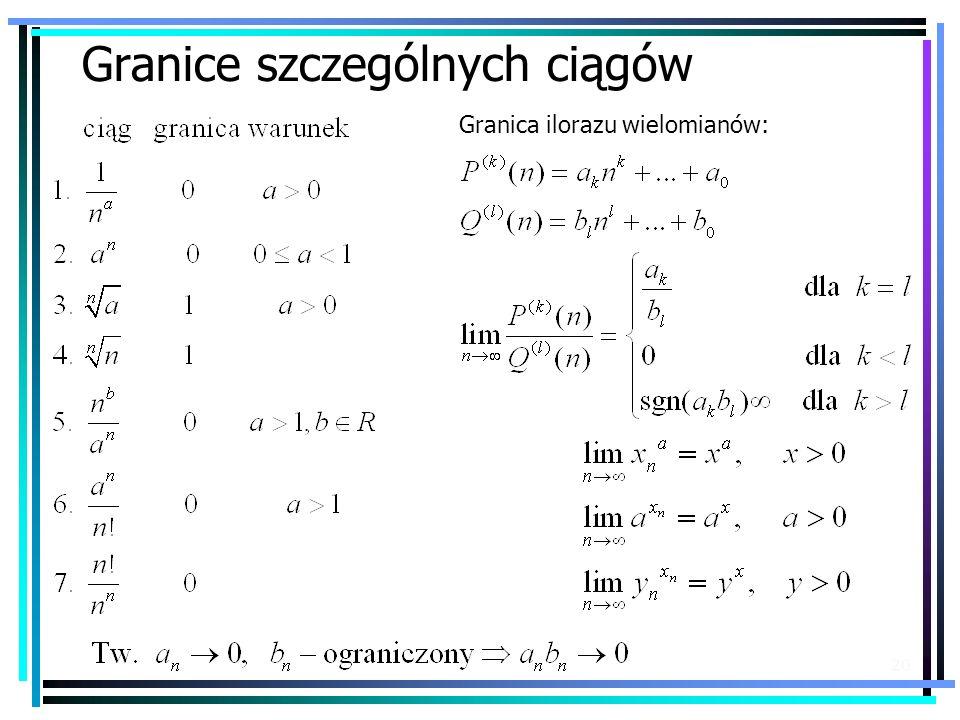 20 Granice szczególnych ciągów Granica ilorazu wielomianów: