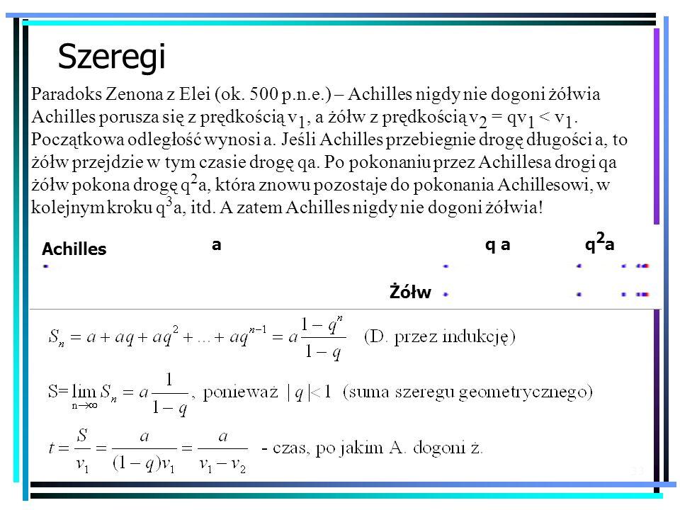 33 Szeregi Paradoks Zenona z Elei (ok. 500 p.n.e.) – Achilles nigdy nie dogoni żółwia Achilles porusza się z prędkością v 1, a żółw z prędkością v 2 =