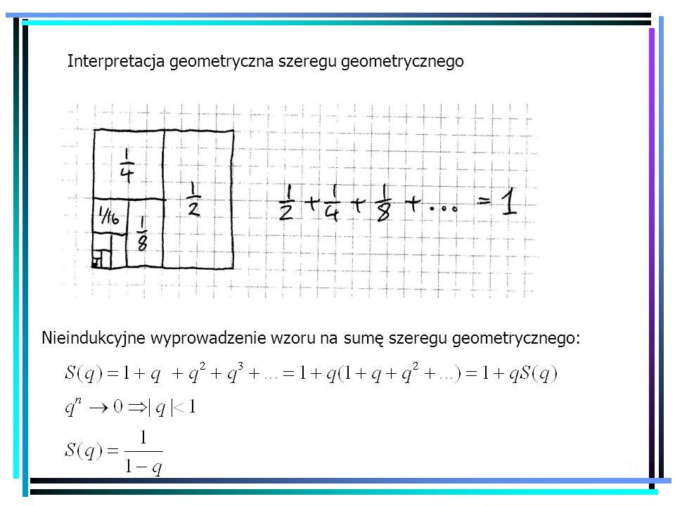 34 Interpretacja geometryczna szeregu geometrycznego Nieindukcyjne wyprowadzenie wzoru na sumę szeregu geometrycznego: