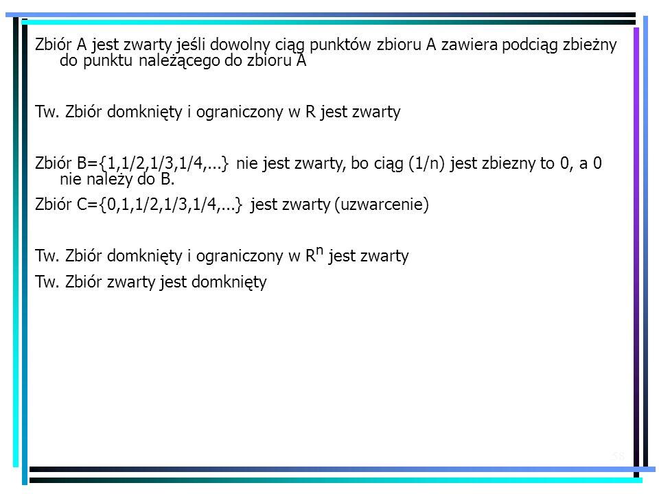 58 Zbiór A jest zwarty jeśli dowolny ciąg punktów zbioru A zawiera podciąg zbieżny do punktu należącego do zbioru A Tw. Zbiór domknięty i ograniczony