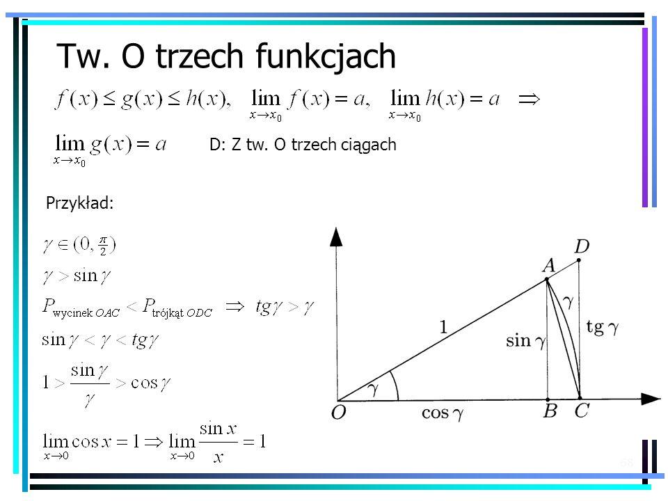 68 Tw. O trzech funkcjach D: Z tw. O trzech ciągach Przykład: