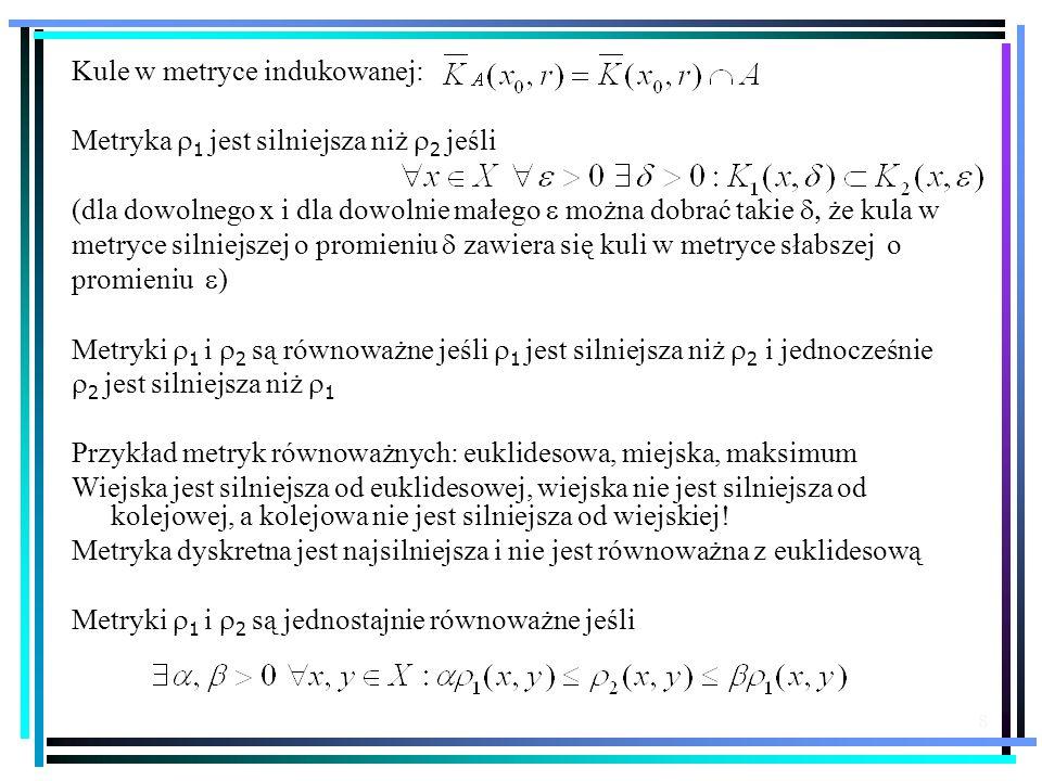 8 Kule w metryce indukowanej: Metryka 1 jest silniejsza niż 2 jeśli (dla dowolnego x i dla dowolnie małego można dobrać takie że kula w metryce silnie