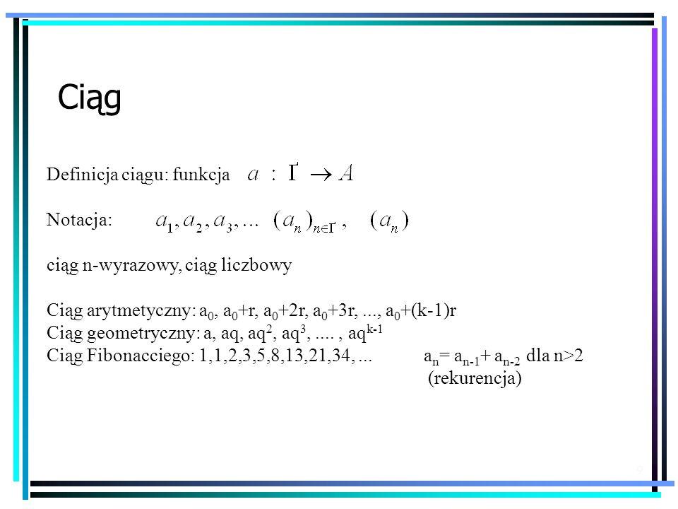 9 Definicja ciągu: funkcja Notacja: ciąg n-wyrazowy, ciąg liczbowy Ciąg arytmetyczny: a 0, a 0 +r, a 0 +2r, a 0 +3r,..., a 0 +(k-1)r Ciąg geometryczny