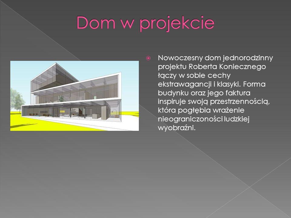 Nowoczesny dom jednorodzinny projektu Roberta Koniecznego łączy w sobie cechy ekstrawagancji i klasyki. Forma budynku oraz jego faktura inspiruje swoj