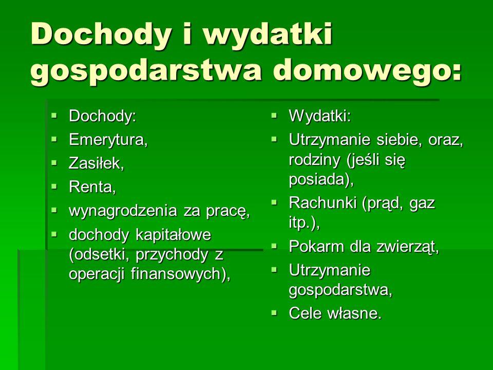Dochody i wydatki gospodarstwa domowego: Dochody: Dochody: Emerytura, Emerytura, Zasiłek, Zasiłek, Renta, Renta, wynagrodzenia za pracę, wynagrodzenia