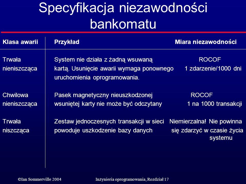 ©Ian Sommerville 2004Inżynieria oprogramowania, Rozdział 17 Specyfikacja niezawodności bankomatu Klasa awariiPrzykład Miara niezawodności TrwałaSystem
